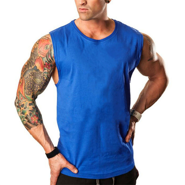 Skull Bodybuilding Stringer Tank Tops men Gyms Stringer Shirt Fitness Tank Top Men Gyms Clothing Cotton Vest hoodies-Felligo