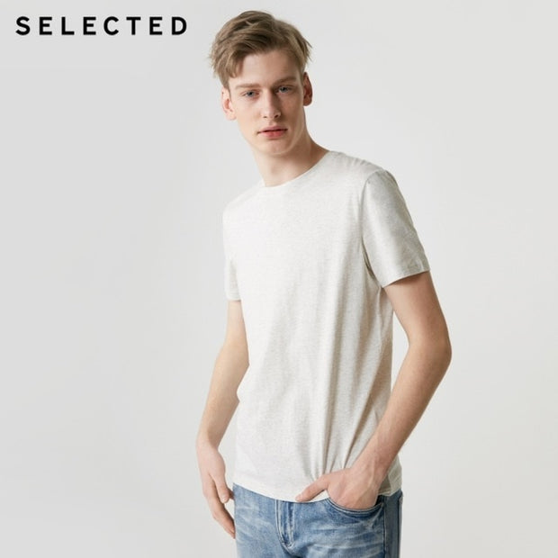 SELECTED Men's Summer 100% Cotton Pure Color Round Neckline Short-sleeved T-shirt S|419201508-Felligo