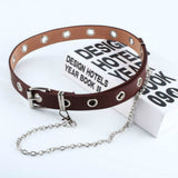Women Punk Chain Fashion Belt Adjustable Black Double/Single Eyelet Grommet Leather Buckle Belt-Felligo