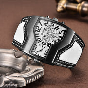 Oulm Unique Design 2 Time Zone Watches Men Luxury Brand Wide Leather Strap Sports Watch Man Quartz Wristwatch erkek kol saati-Felligo
