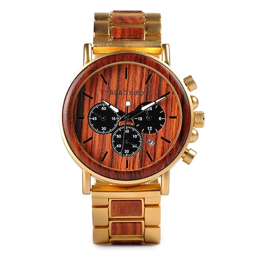 Men's Chronograph wood and stainless watch.-Felligo