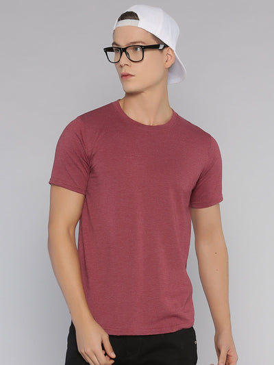 Solid Basic Short Sleeve Curved Hem T-shirt Maroon Melange