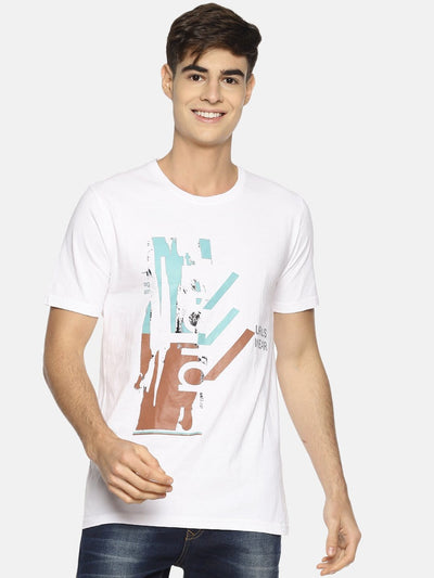 Collage Abstract Short Sleeve T-shirt White - EURUS WEAR CLOTHING