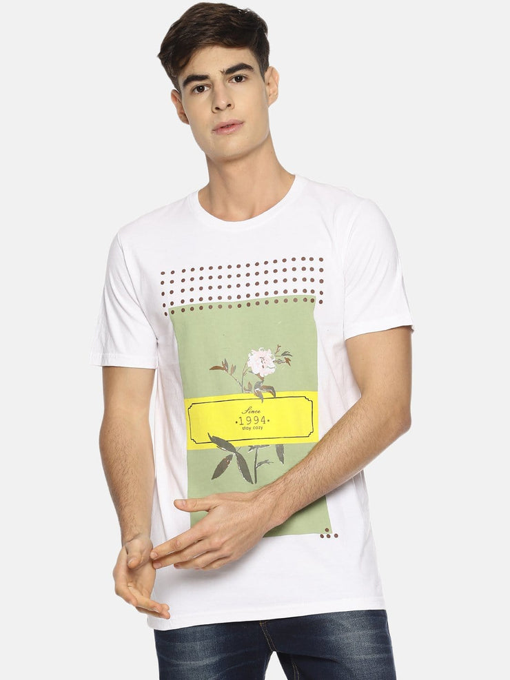 Stay Cozy Rose Short Sleeve T-shirt White/Green - EURUS WEAR CLOTHING