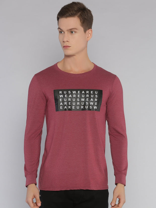 Alphabet Eurus Long Sleeve T-shirt Maroon Melange - EURUS WEAR CLOTHING