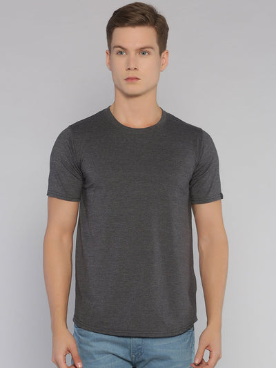 Solid Basic Short Sleeve Curved Hem T-shirt Grey