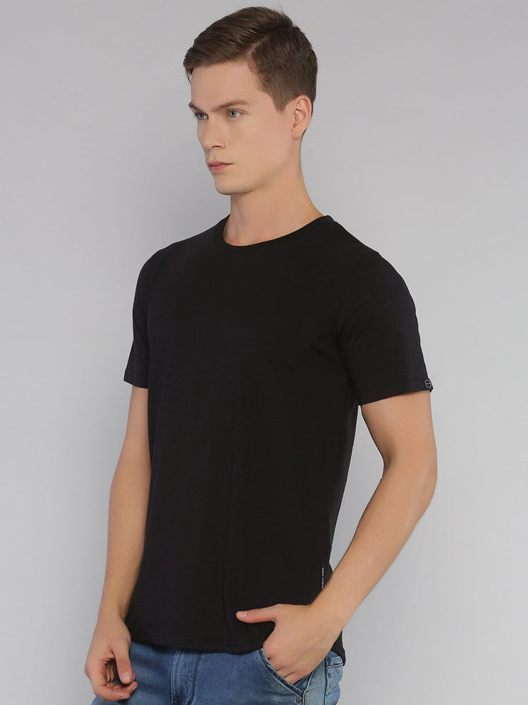 Solid Basic Short Sleeve Curved Hem T-shirt Black