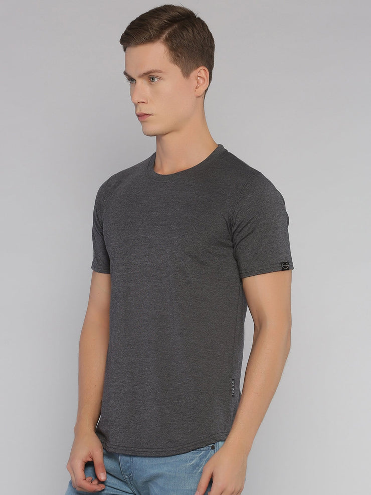 Solid Basic Short Sleeve Curved Hem T-shirt Grey - EURUS WEAR CLOTHING