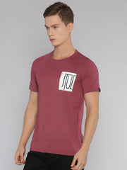 Stud Short Sleeve T-shirt Maroon Melange - EURUS WEAR CLOTHING