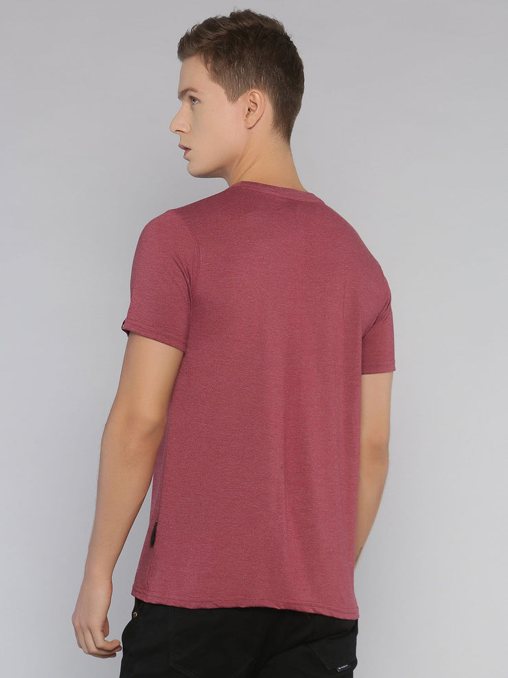 Faith Short Sleeve T-shirt Maroon Melange/Black - EURUS WEAR CLOTHING
