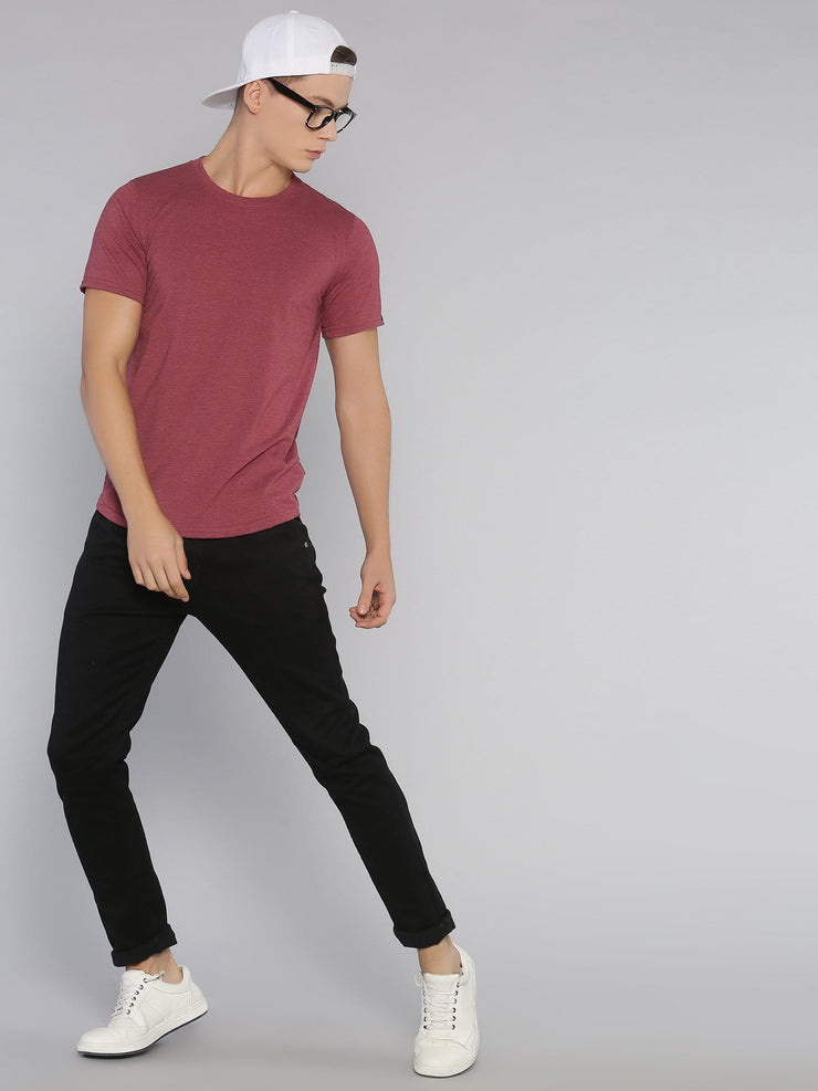 Solid Basic Short Sleeve Curved Hem T-shirt Maroon Melange - EURUS WEAR CLOTHING