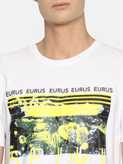 Spill Paint Short Sleeve T-shirt White/Yellow - EURUS WEAR CLOTHING