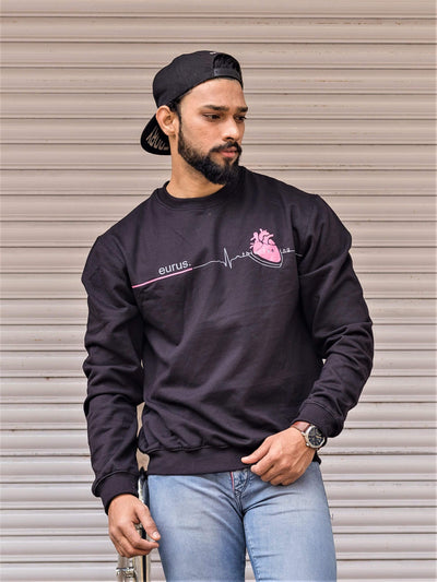 Heartbeat Sweatshirt Black/Pink - EURUS WEAR CLOTHING