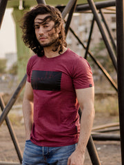 Faith Short Sleeve T-shirt Maroon Melange/Black