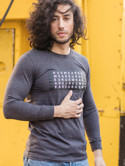 Alphabet Eurus Long Sleeve Round Neck T-shirt Grey