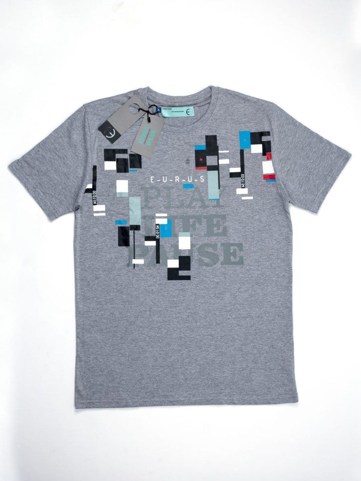 Play Life Pause Short Sleeve T-shirt Heather Grey - EURUS WEAR CLOTHING
