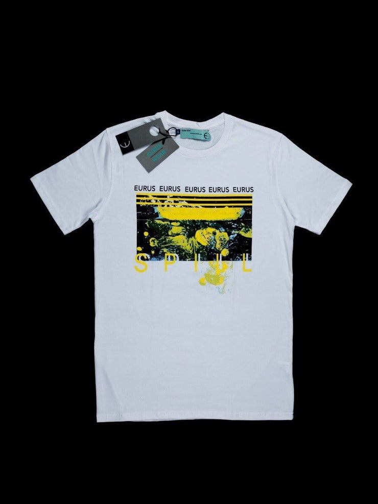 Spill Paint Short Sleeve T-shirt White/Yellow