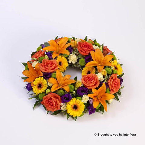 Large Vibrant Rose and Lily Wreath