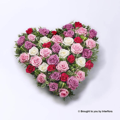 Mixed Rose Heart - Pink, Lilac and White