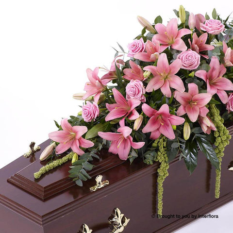 4ft Pink Lily & Rose Casket Spray