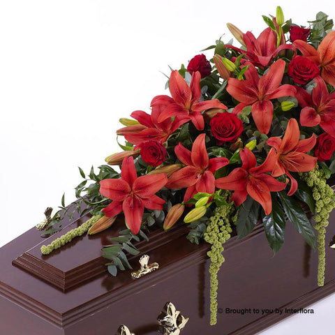 5ft Red Lily & Rose Casket Spray