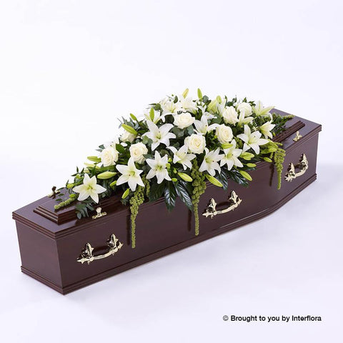 6ft White Lily & Rose Casket Spray