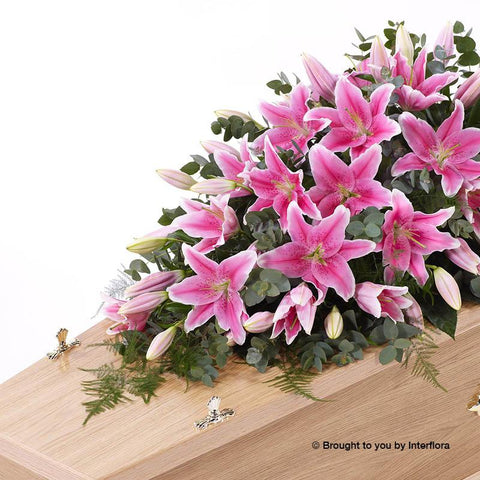 5ft Pink Lily Casket Spray