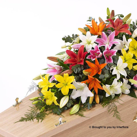 5ft Vibrant Lily Casket Spray