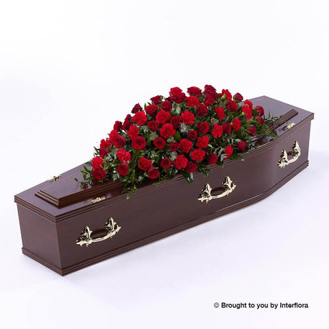 4ft Red Rose & Carnation Casket Spray