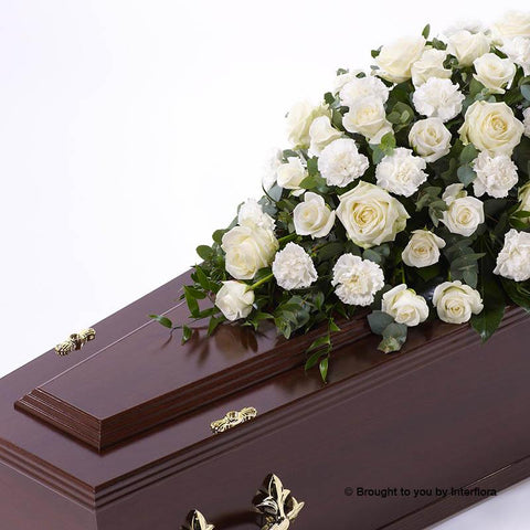 3ft White Rose & Carnation Casket Spray