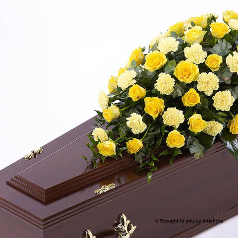 4ft Yellow Rose & Carnation Casket Spray
