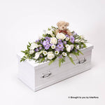 Children's Casket Spray with Teddy Bear - Blue and Lilac
