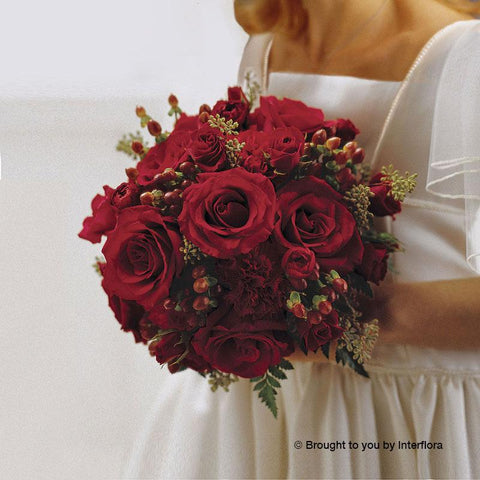 Scarlet Rose & Berry Deluxe Bridal Bouquet