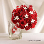 Dazzling Red Rose & Stephanotis Scented Deluxe Bridal Bouquet