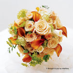 Sweet Peach Rose & Calla Lily Deluxe Bridal Bouquet