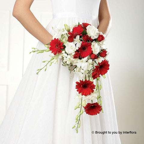 Crimson Gerbera & Orchid Shower Deluxe Bridal Bouquet