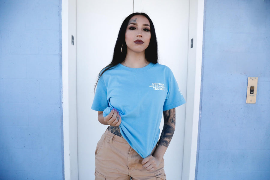 Drifting Into Trouble Ladies Tee: Powder Blue