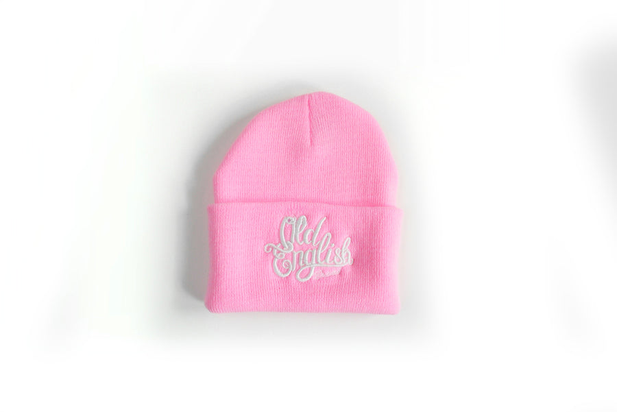 Old English Brand Pink Logo Beanie