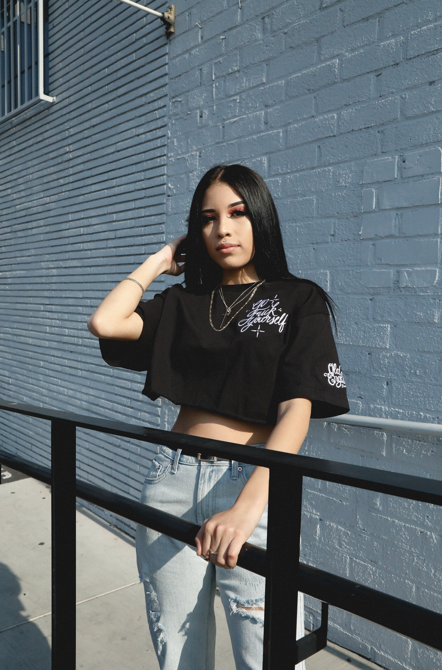 Ladies Get Lost: Black Embroidery Tee