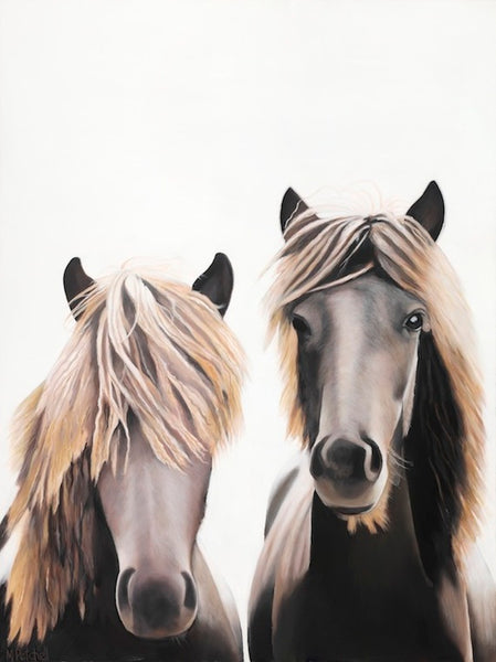two brown horses, close up portrait, fine art print