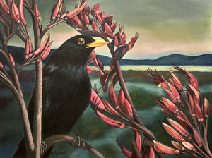 """Raymond"" Blackbird and Flax Flowers"