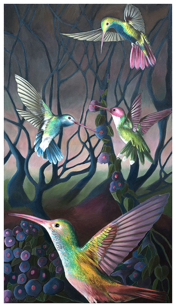 Harlow and the Hummingbirds Art Print