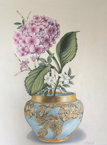 Hydrangea in Galle Bowl Original Painting