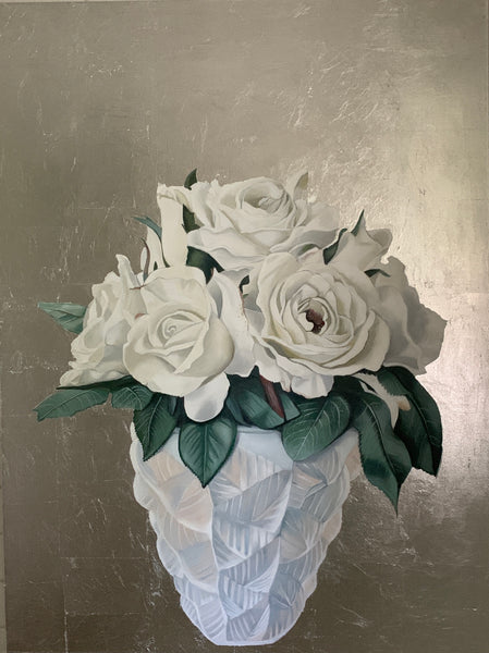 White Roses in Lalique Vase Original Painting