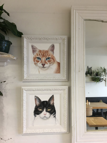 Black and White Cat Painting (Framed)