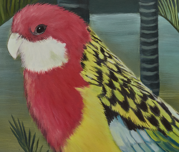 """Edith and Mauve"" Rosellas in Palms"