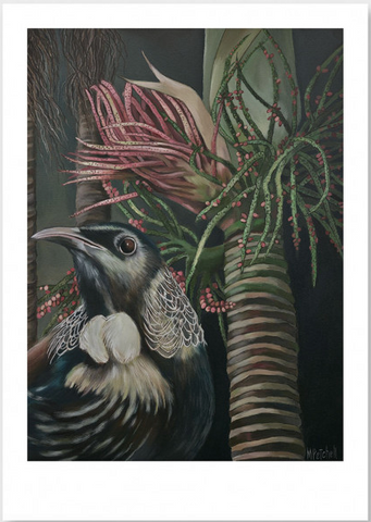 Moreau Tui and Nikau Art Print