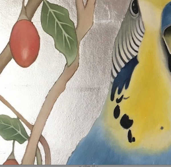 "Budgie and Tamarillo Tree Painting ""Edgar"""