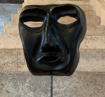 Venetian Mask Sculpture on Plinth
