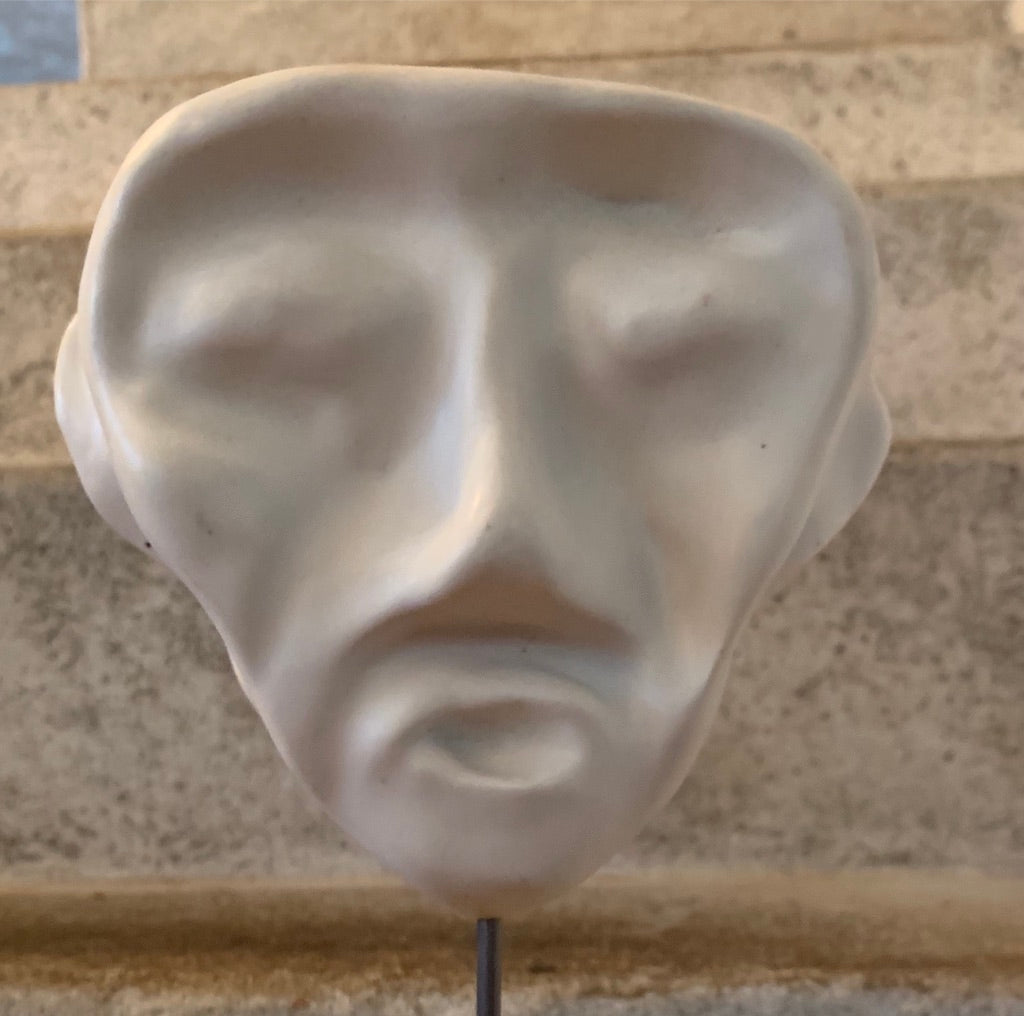 """Angle Head ""Pottery Sculpture Mask on Plinth"